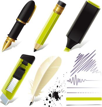 different pen design elements vector graphics