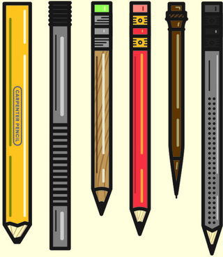 different pencil vector graphics