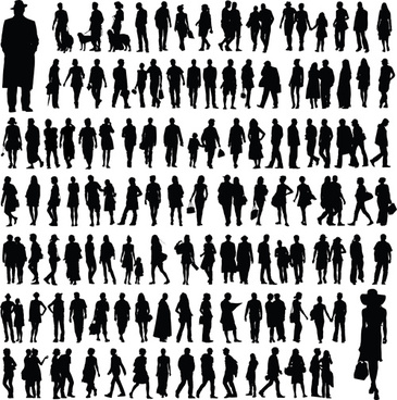different people silhouettes creative design
