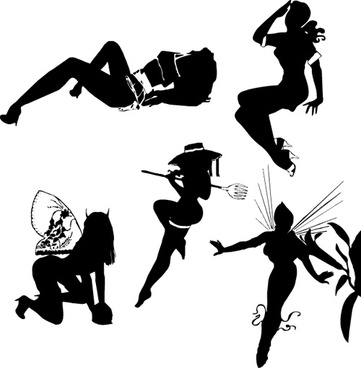 different postures girls vector silhouettes