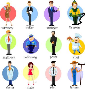 different professions design elements vector