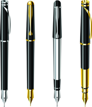 different realistic pen design vector set