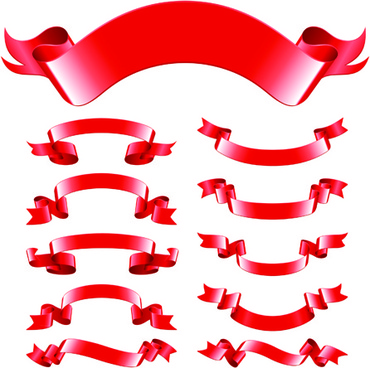 different red ribbons design vector