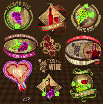 different retro wine labels vector
