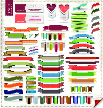 different ribbons elements vector set