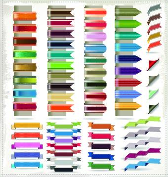 different ribbons elements vector set