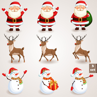 different santa claus design vector