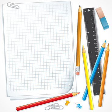 different school supplies vector graphic set