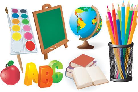 different school supplies vector graphic set