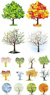 different shape tree design vector