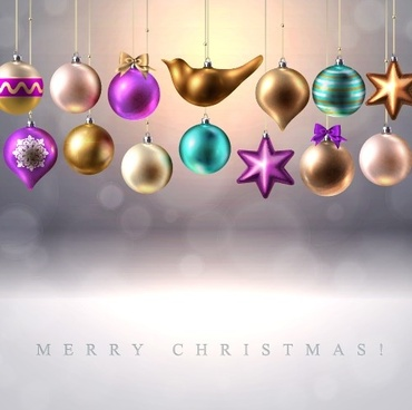different shapes christmas baubles vector