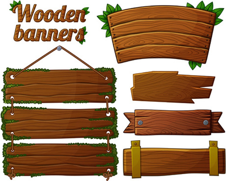 different shapes wooden banners vector
