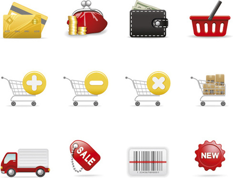 different shopping icon mix vector graphic