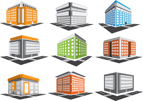 different skyscrapers model vector