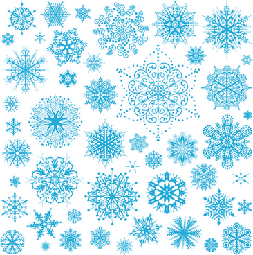 different snowflakes pattern design vector set