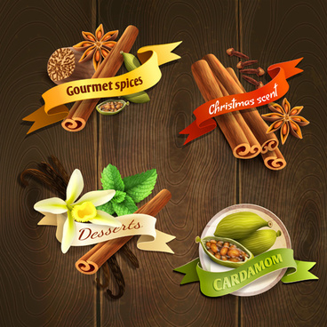different spices vector labels