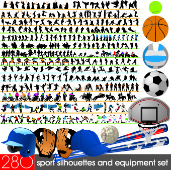 different sport silhouettes vector