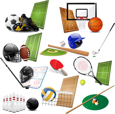 different sports equipment vector icons