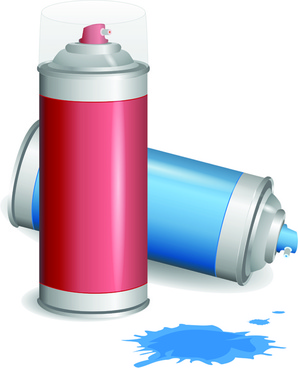 different spray paint elements vector