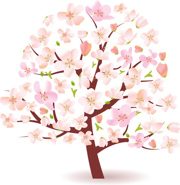 different spring tree elements vector