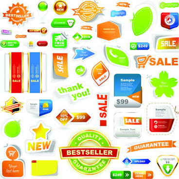 different supermarket labels and stickers design vector