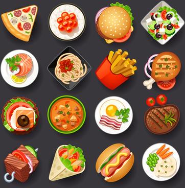 different tasty food set vector