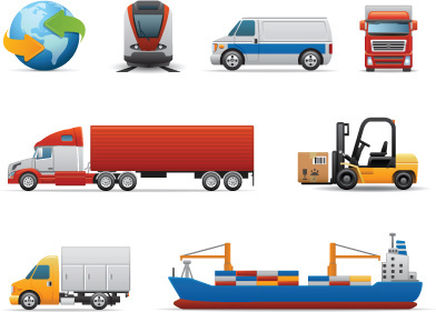 different transport icon design vector set