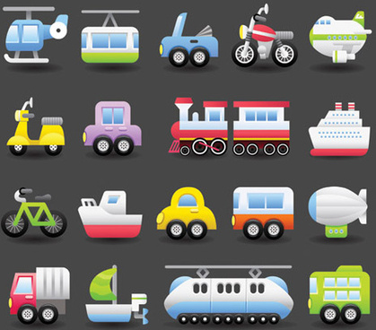 different transportation icons vector