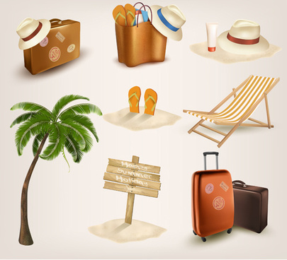 different travel elements icons vector