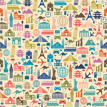 different travel elements pattern vector graphics