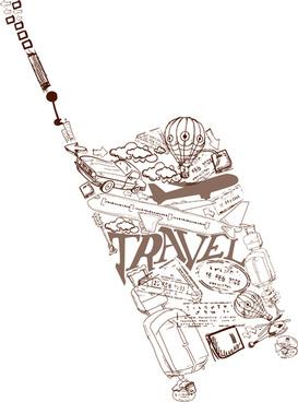 different travel elements vector set