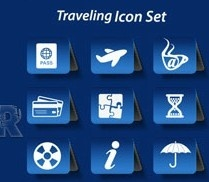 different traveling icon vector set