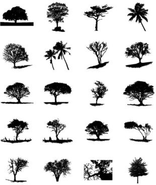 different trees silhouettes vector