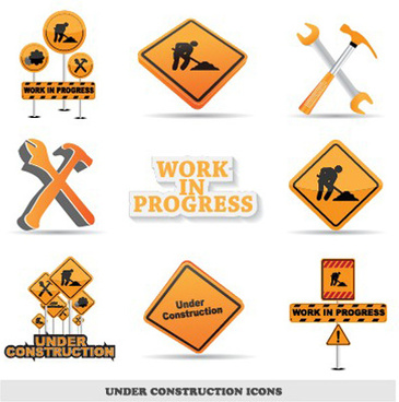 different under construction icon vector set