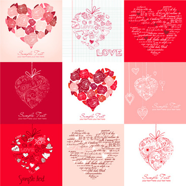 different valentine hearts cards vector
