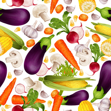 different vegetable elements vector seamless pattern