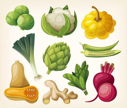 different vegetables shiny design vector