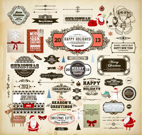 different vintage christmas labels elements vector set
