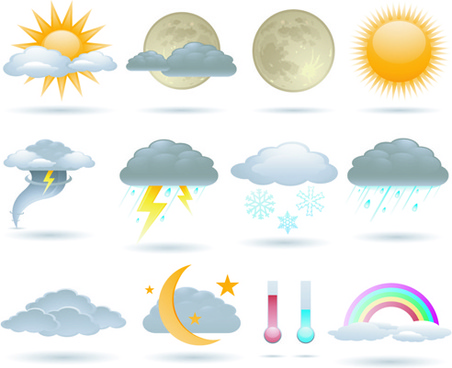 different weather icons vector set