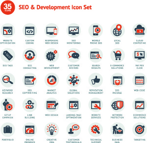 different web icons set