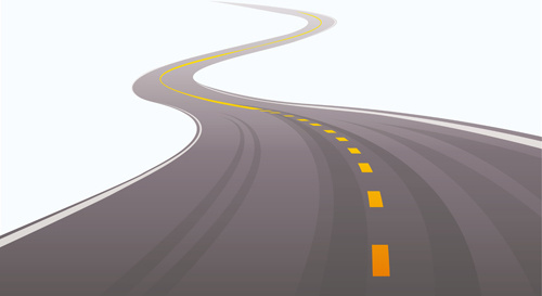 different winding road design vector