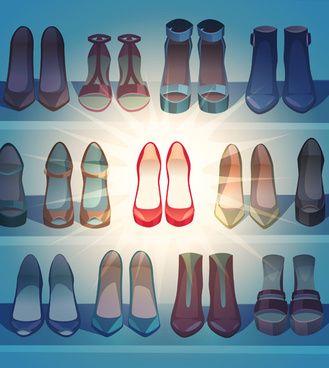 different woman shoes vector design