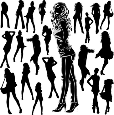 different women silhouettes vector