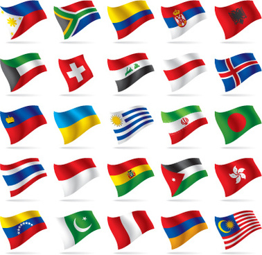 different world flags elements vector