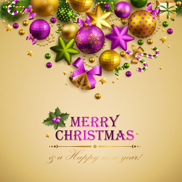 different xmas decorations vector