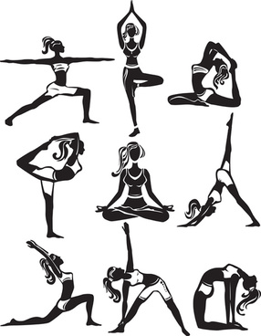 different yoga girl silhouette vector