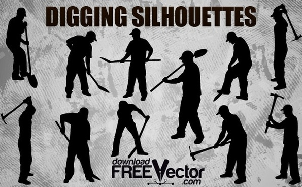 Digging Worker Silhouettes