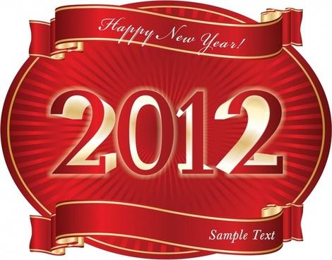 2012 calendar decorative template elegant ribbon number sketch