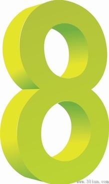 digital 8 icons vector