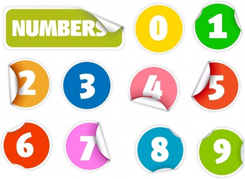 digits sticker templates modern colorful paper cut shapes